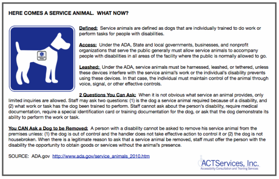 Ada Compliance Service Animals
